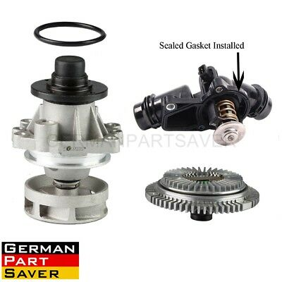 Water Pump& Fan Clutch& Thermostat Assembly Kit fit BMW 11517527910 11537509227