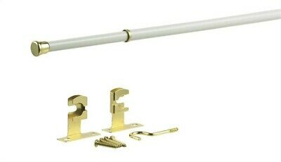 "Kenney Manufacturing Company KN392/1 48"" - 84"" White Round Sash Rod With Brass T"