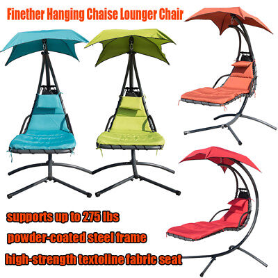 Finether Hanging Chair Chaise Lounger colorful Swing Hammock Stand Porch Chai US