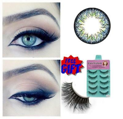 Free Eyelash CRAZY Coloured Contact Lenses Kontaktlinsen blue grey contacts lens