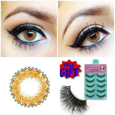 Free Eyelash CRAZY Coloured Contact Lenses Kontaktlinsen Contacts Lens Color