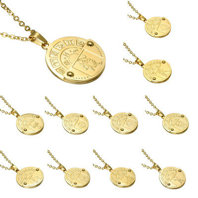 12 Constellation Necklace Zodiac Coin Pendant Astrology Stainless Steel Jewelry