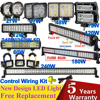 LED Work Lights Bar Spot Flood Roof Driving Lamps Offroad Boat Car Truck SUV ATV