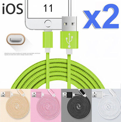 2X USB Lightning Charger Charging Cable Cord Data For Apple iPhone X 8 7 6S iPad