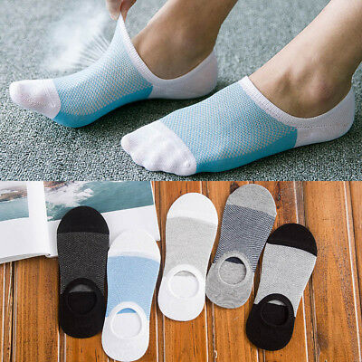 5 Pairs Mens Invisible No Show Nonslip Loafer Boat Ankle Low Cut Soft Socks AU
