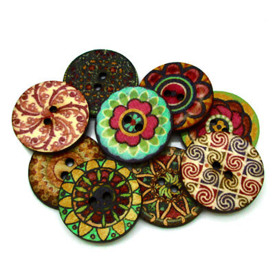 50Pcs Wooden Buttons Mixed Flower Pattern 2 Holes Fit Sewing Scrapbooking 25mm