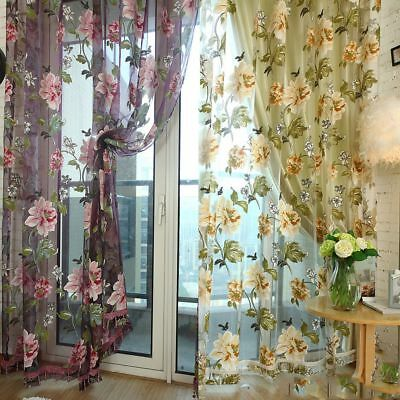 Romantic Peony Flowers Voile Window Curtain Panel Sheer Drape Balcony Valances