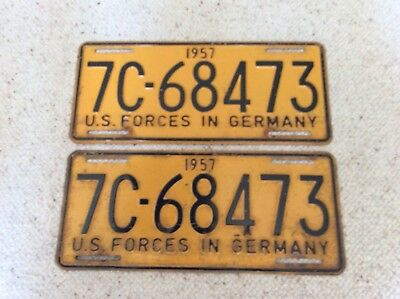 Us Forces In Germany,1957,Nummernschilder Us Army