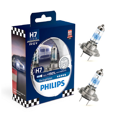 2x Philips H7 55W12V Racing Vision in Hardcoverbox Sock. PX26d 150%
