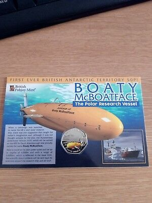 2018 BRITISH ANTARCTIC TERRITORY 50p Fifty Pence Coin Boaty McBoatFace In Hand