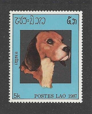 Dog Photo Head Study Portrait Postage Stamp Champion Show BEAGLE Laos 1987 MNH