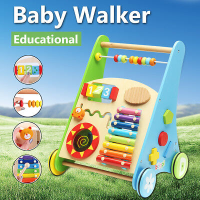 Wooden Baby Walker Toddler Kid Push Activity Colourful Toys Musical Instrument