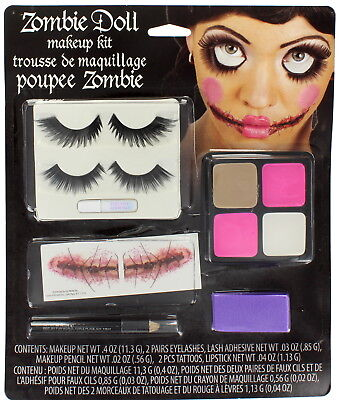 Halloween Zombie Doll Makeup Kit with Eyelashes/Tattoos/Paint/Sponge & Pencil