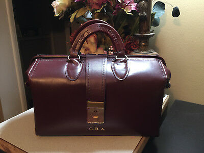 Vtg Medical Doctor Bag West Virginia University Cordovan Leather Combo Lock