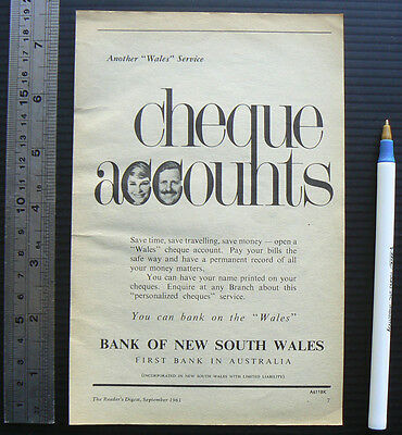 1961 vintage ad BANK OF NSW original print advertisement advert New South Wales