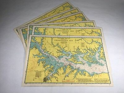 """6 Vintage Chesapeake Bay Placemats Map With Whistles Knots And Flags 17.5""""x11.5"""""""
