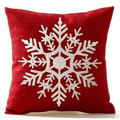 Snowflake In Red Merry Christmas flax Throw Pillow Cushion Cover Home Sofa  Y5P3