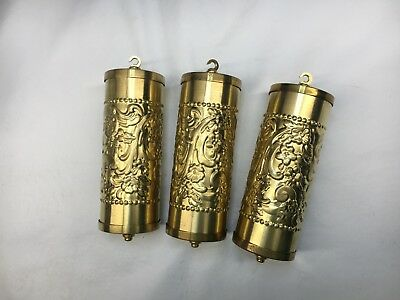 Fancy Brass Embossed Vienna Clock Weight Shells Set of 3 with weight Inserts