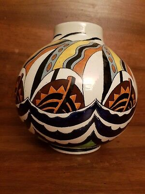 Grand vase boule Art Deco KERAMIS décor 1427 H 23 cm