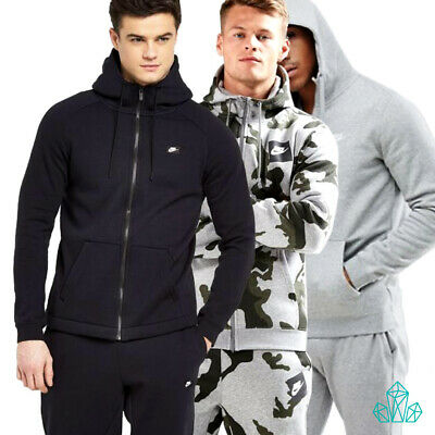 Mens NIKE Air Tracksuit Set Fleece Zip Hoodie Joggers Grey Camo Black Separate