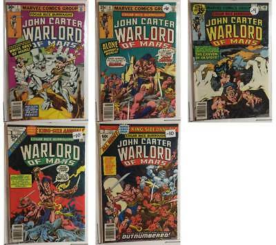 John Carter Warlord of Mars 5 Comic Lot (2 6 22 1 2) King Size Annual | Marvel