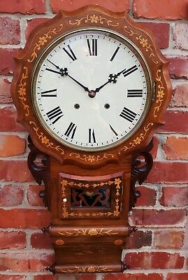 Antique Late 19Th Century Mahogany Superior Double Scroll Drop Dial Wall Clock