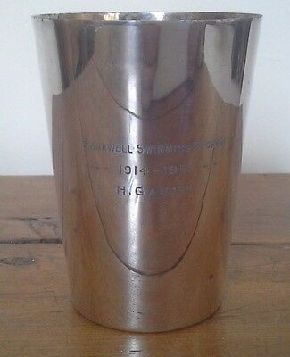Vintage silver plate 1914 swimming trophy, trophy, trophies, sporting trophy