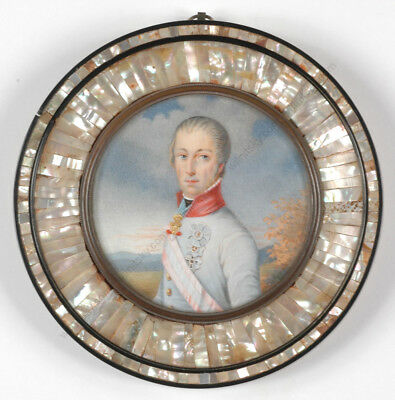 """Portrait of Kaiser Franz II (I)"", fine Austrian miniature!!, early 19th century"