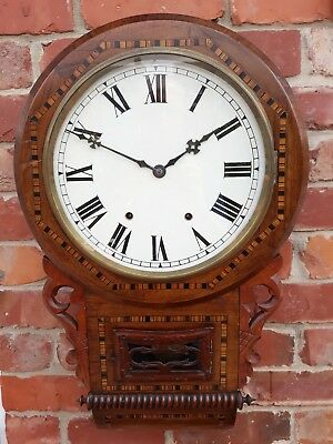 ANTIQUE 1890s WALNUT AND INLAY ANSONIA DROP DIAL WALL CLOCK