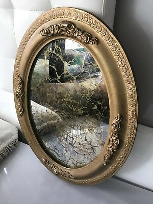 "Antique Stained Glass Oval Mirror with Gold Ceramic Frame 25"" x 19"""