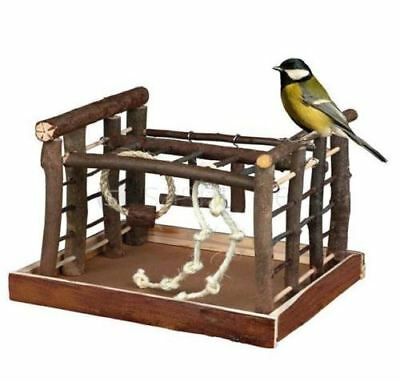 Natural Wooden Bird Playground Budgie Canary Ladder Ropes Swing Perch Pet Fun