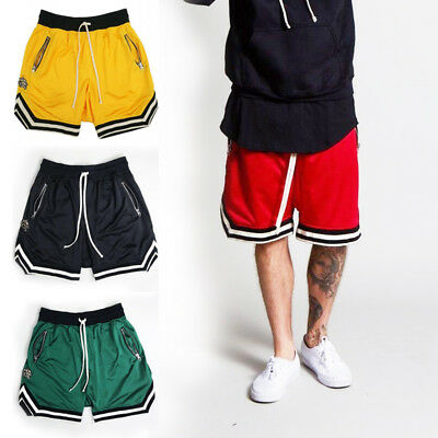 Men's Workout Training Shorts Quick Dry Zip Pocket Sport Active Shorts Plus Size