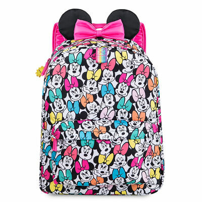 NWT Disney Store Minnie Mouse Backpack rainbow with 3D ears School Girls