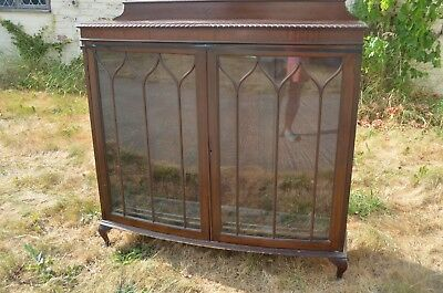 Antique Mahogany Bow Fronted Glass Cabinet Queen Anne Legs Left  Pain Cracked
