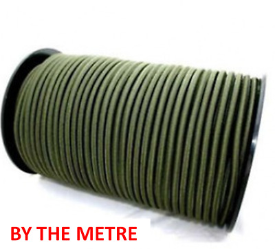 By The Metre 6mm 6 mm round elastic bungee Shock Cord green Olive