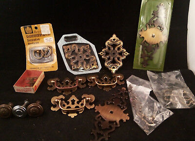 Mixed Lot Of Vintage Metal Handles BackPlates Drawer Pulls Knobs NOS &USED (K48)