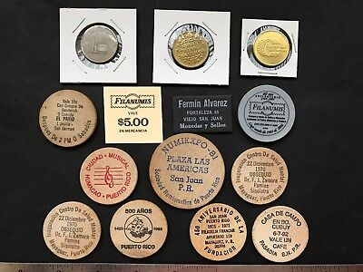Puerto Rico 1980-2000's Lot of  14 exonumia items, tokens