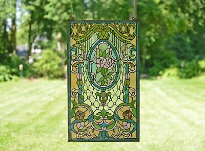 "20"" x 34"" Large Handcrafted stained glass window panel Flowers"
