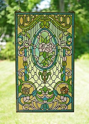 """20"""" x 34"""" Large Handcrafted stained glass window panel Flowers"""