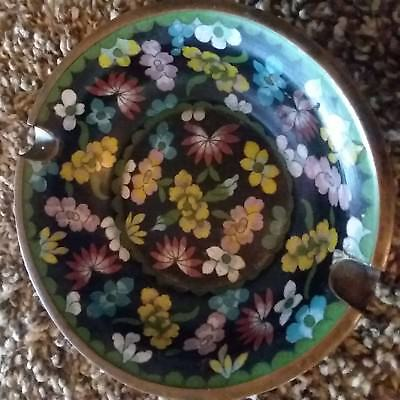 Rare hand-painted Chinese cloisonne footed Gilted bronze bowl floral design