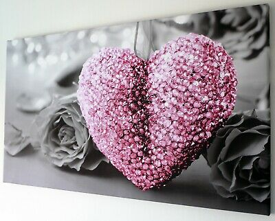 Pink Heart  Canvas Wall Art Picture  18 X 32 Inch Framed