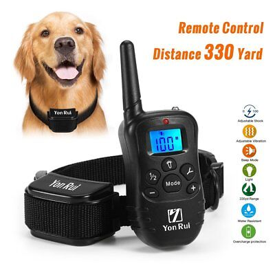 Waterproof Dog Shock Training Collar Rechargeable Remote Vibration, Pet 330 Yard