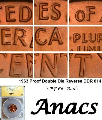 1963 Anacs PF66 Red Lincoln Cent Penny Proof Double DDR 014 Doubled Die Reverse*