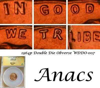 1964 Anacs MS65 RD Lincoln Cent Penny WDDO-007 DDO Doubled Die Obverse* EDS* T25