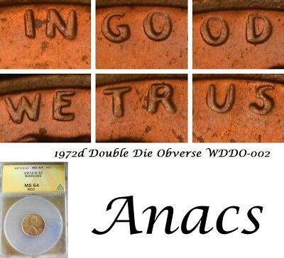 1972d Anacs MS64 RD Lincoln Cent Penny WDDO-002 Double DDO Doubled Die, Rare*