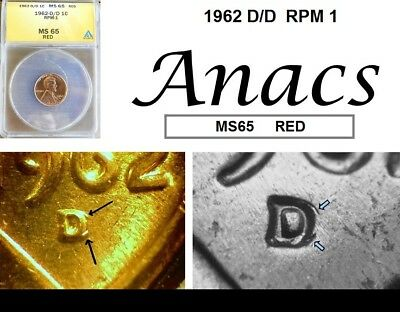 1962 D/D Anacs MS65 RD RED Lincoln Cent Penny RPM 1*
