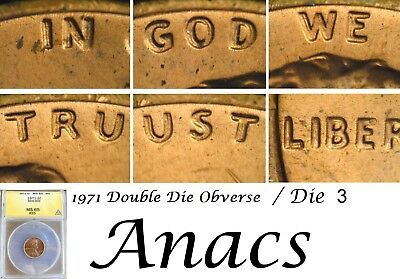 1971p Anacs MS65 RD Lincoln Cent Penny,Die 3 Double DDO Doubled Die* Rare*