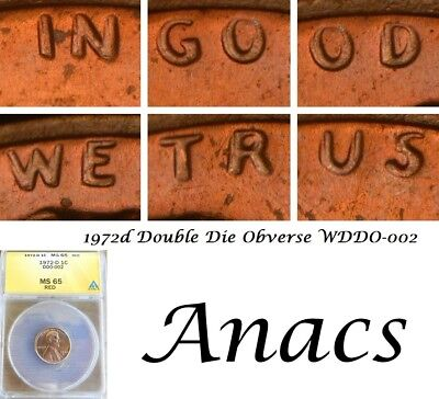 1972d Anacs MS65 RD Lincoln Cent Penny WDDO-002 Double DDO Doubled Die, Rare*