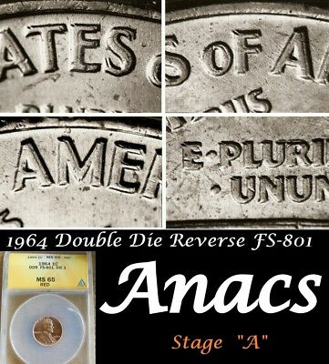 1964p Anacs MS65 RD Lincoln Cent Penny FS801 Double DDR Doubled Die Reverse*
