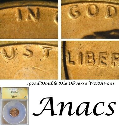 1972d Anacs MS65 RD Lincoln Cent Penny WDDO-001 Double DDO Doubled Die* Rare*